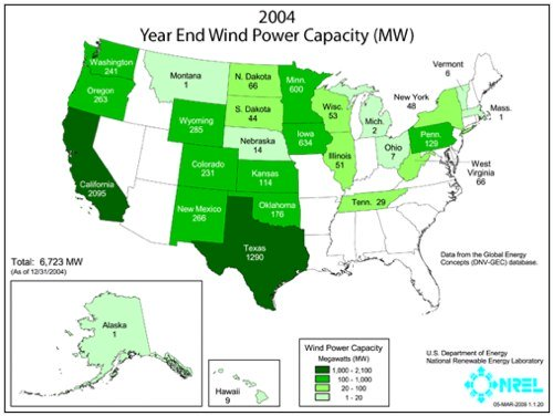US Wind Power Capacity Map